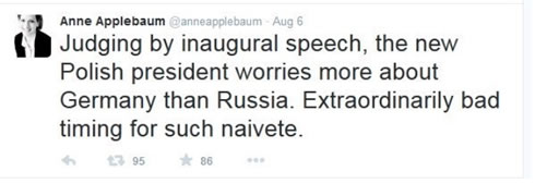 Anne Applebaum's Twitter post which unduly criticized the President's inaugural speech.