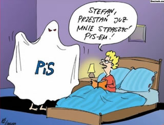 """Stefan, will ya stop frightening me with this PiS already"" A Polish political cartoon."