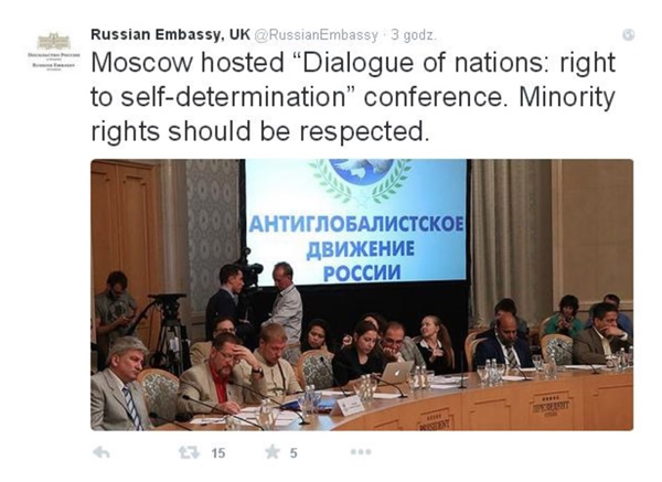 "Moscow-hosted ""Dialogue of Nations: right to self-determination"" conference."